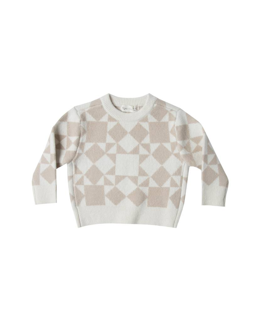 RYLEE AND CRU Patchwork Jacquard Knit Pullover