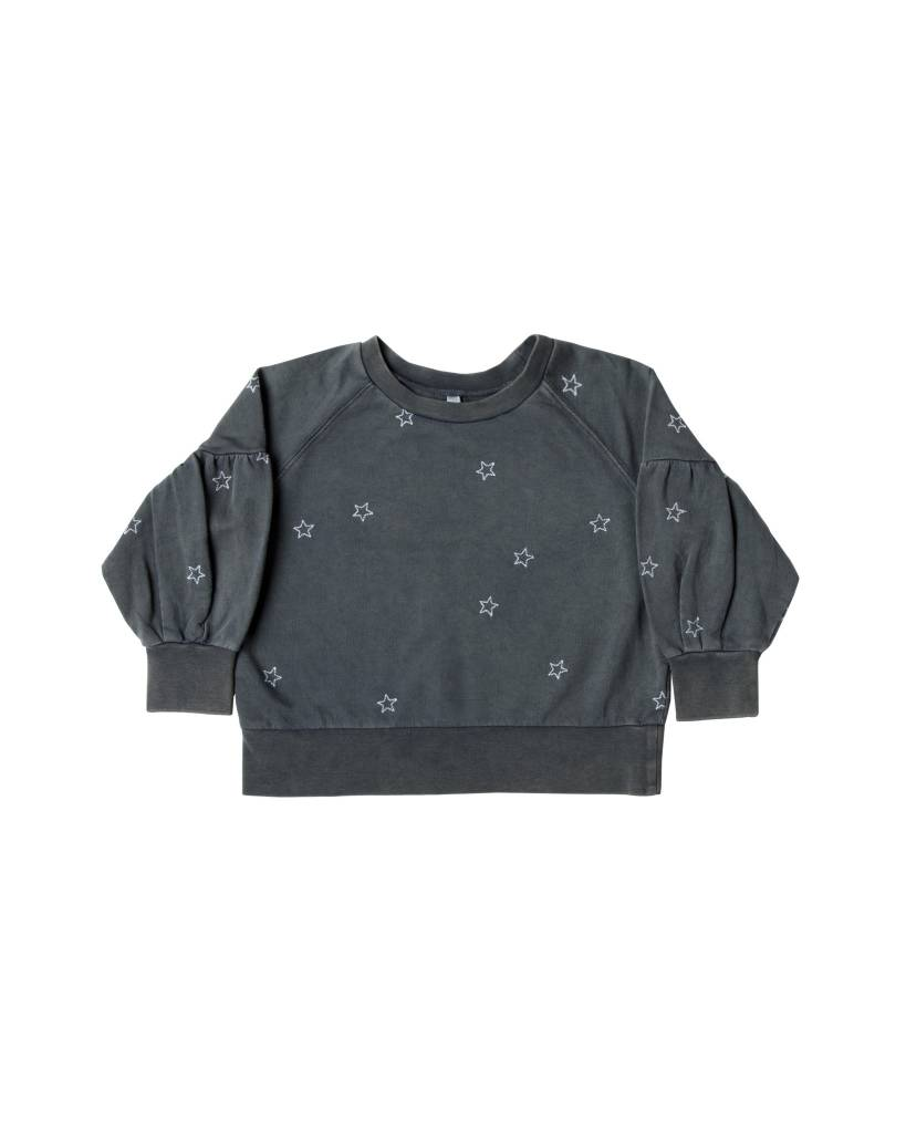 RYLEE AND CRU Star Embroidered Puff Sleeve Sweatshirt