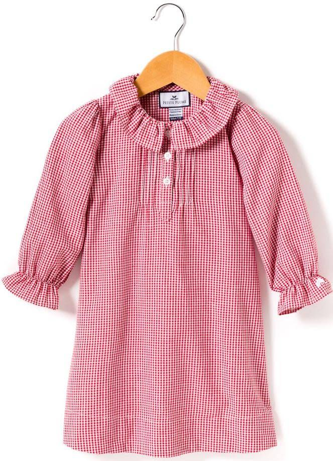 PETITE PLUME Red Mini Gingham Victoria Nightgown