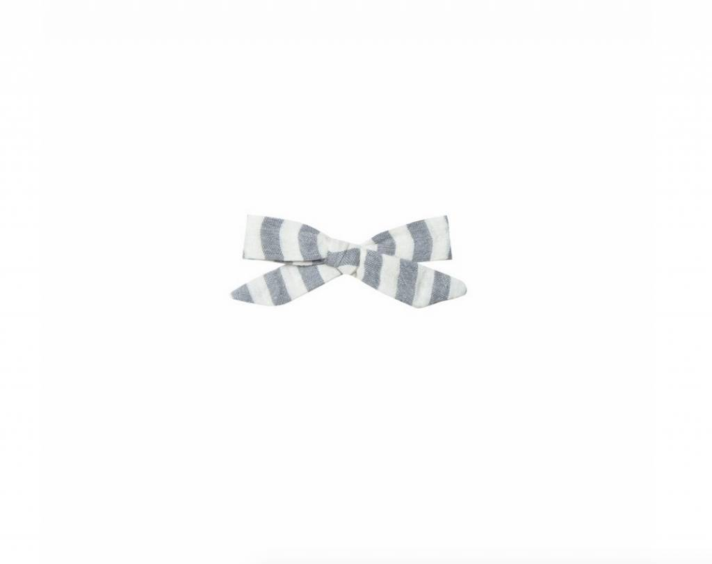 RYLEE AND CRU Ivory Storm Stripe Bow with Clip