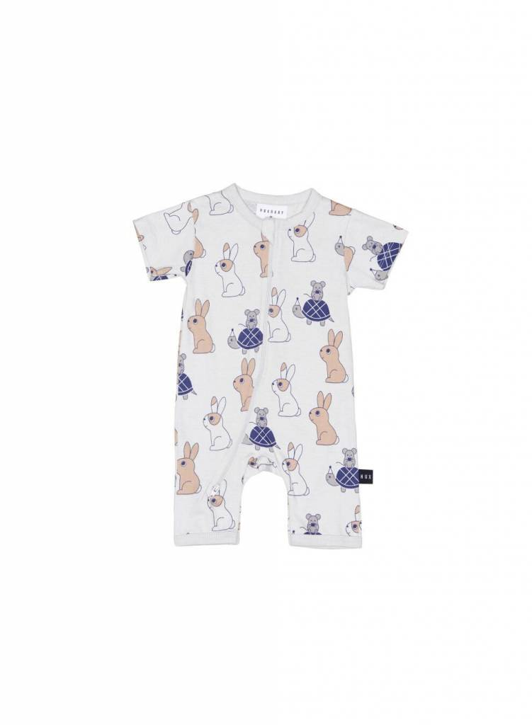 HUX BABY Tortoise and Hare Short Zip Romper