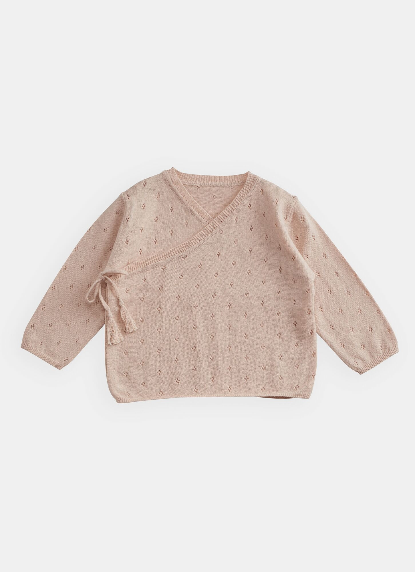 BELLE ENFANT Pointelle Wrap Top