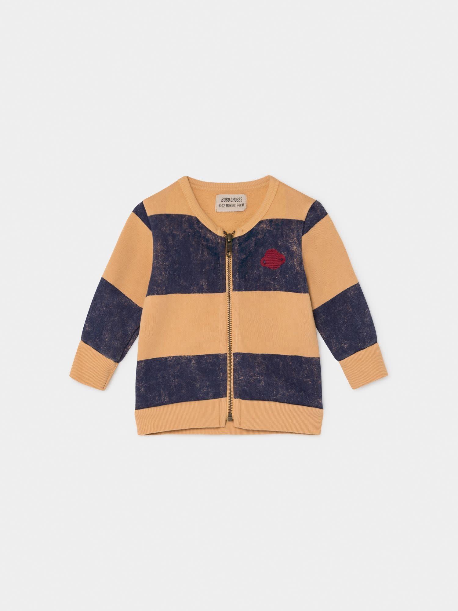 BOBO CHOSES Striped Saturn Zipped Sweatshirt