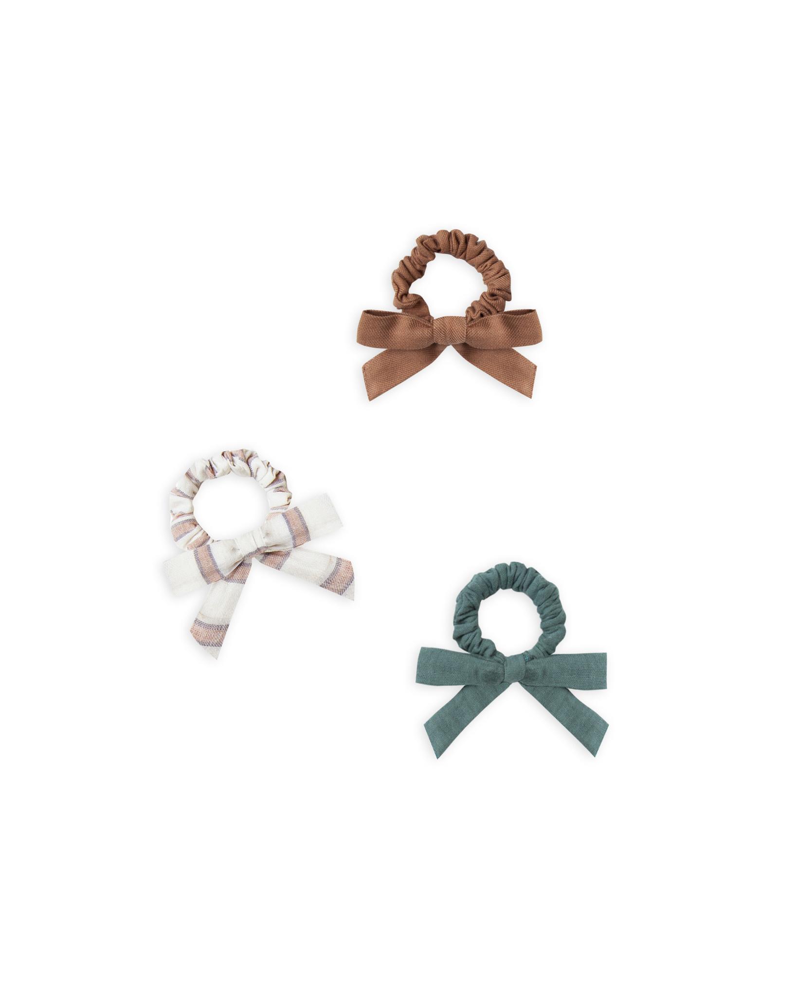 RYLEE AND CRU Little Bow Scrunchie Set- Caramel, Truffle Stripe, Spruce