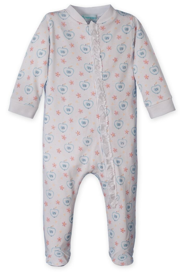 FEATHER BABY Zipper Footie With Ruffle