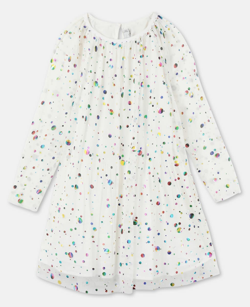 STELLA MCCARTNEY Longsleeve Foil Dots Tulle Dress