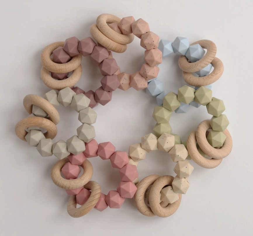 Three Hearts Dusty Pink Abby Teething Rattle