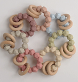 Three Hearts Taupe Abby Teething Rattle