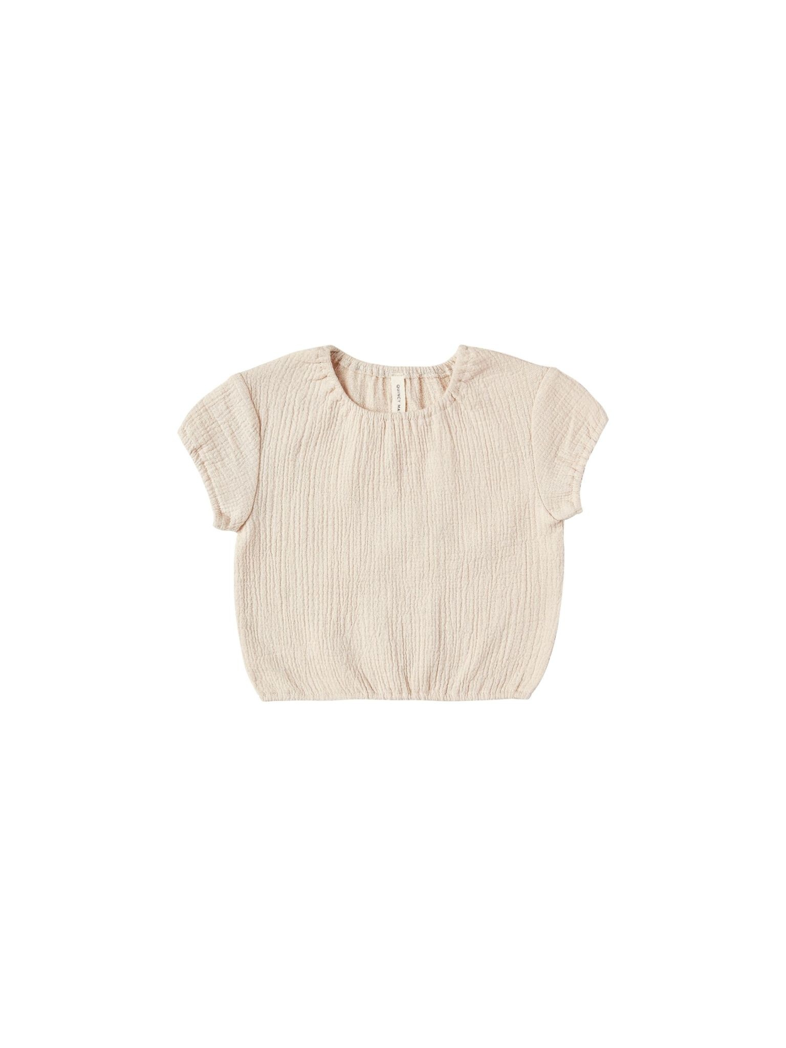 QUINCY MAE Organic Cotton Cinched Woven Tee