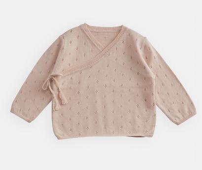 BELLE ENFANT Pointelle Cotton Wrap Top