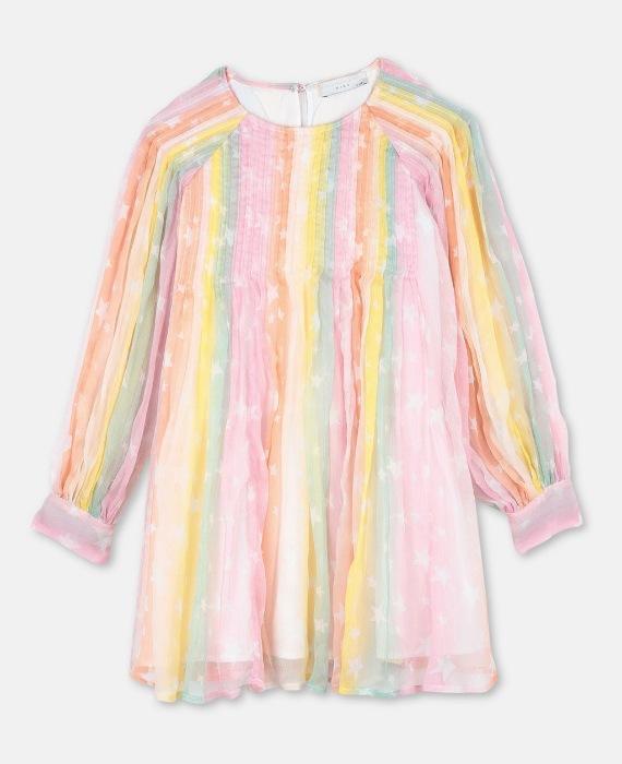 STELLA MCCARTNEY Longsleeve Rainbow Silk Dress