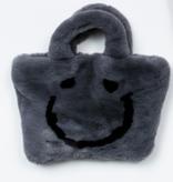 PETITE HAILEY Grey Happy Face Tote