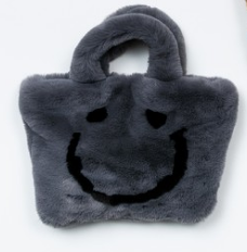 PETITE HAILEY Grey Happy Face Tote