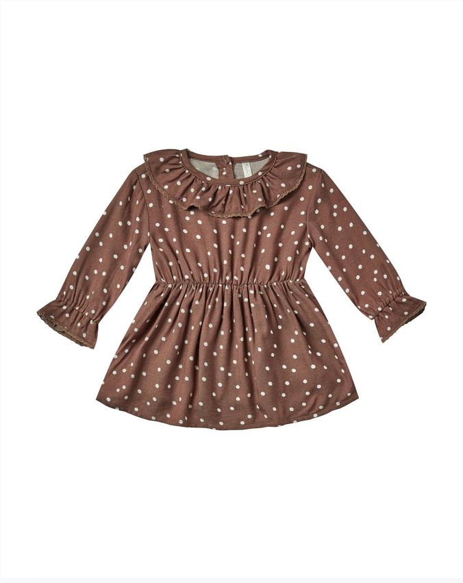 RYLEE AND CRU Dot Ruffle Collar Baby Dress