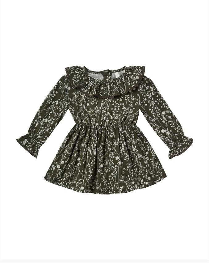 RYLEE AND CRU Vines Ruffle Collar Baby Dress