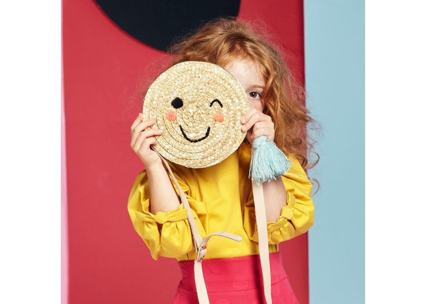 Emoji Cross Body Straw Bag