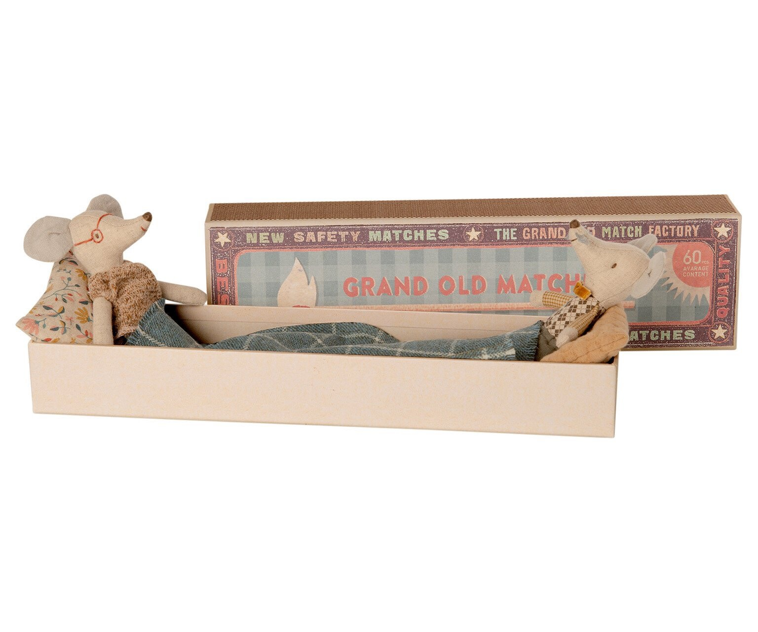 MAILEG Grandma and Grandpa Mice in a Matchbox