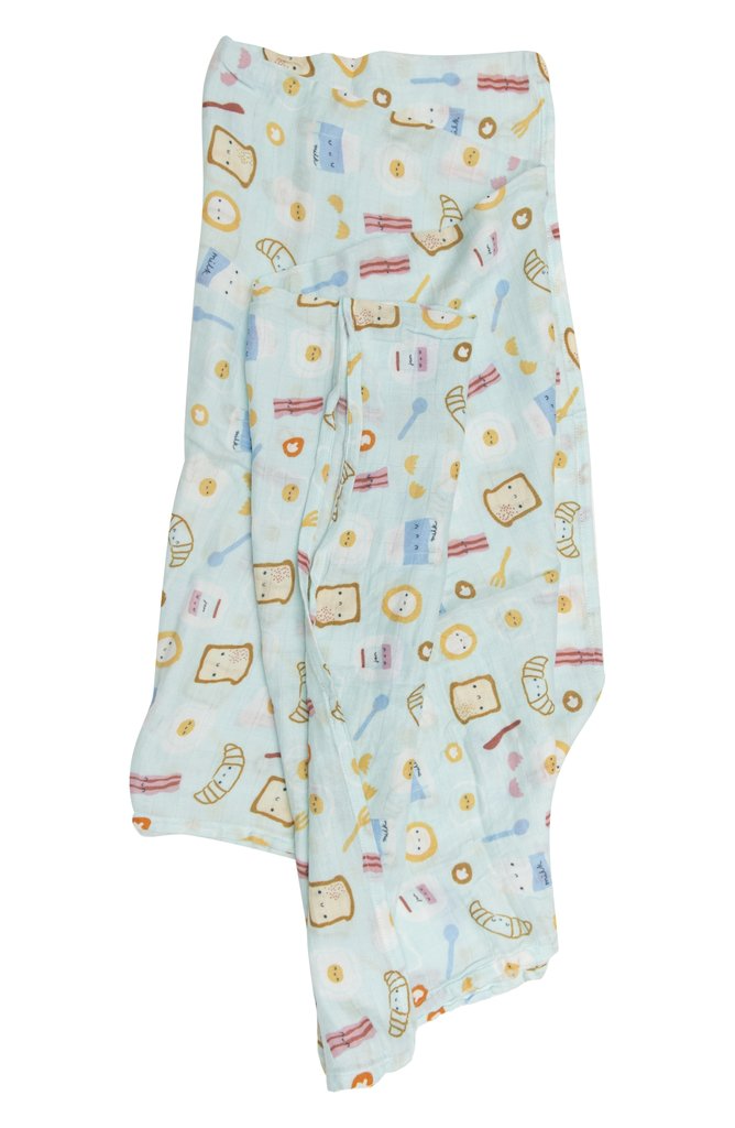 LOULOU LOLLIPOP Breakfast Blue Muslin Swaddle