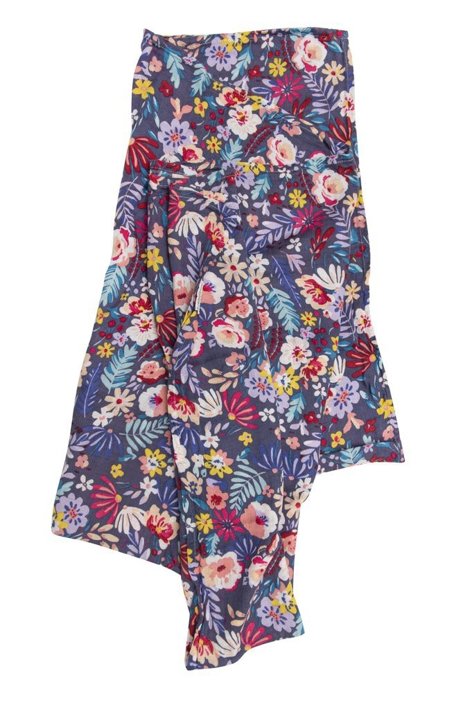LOULOU LOLLIPOP Dark Field Flowers Muslin Swaddle