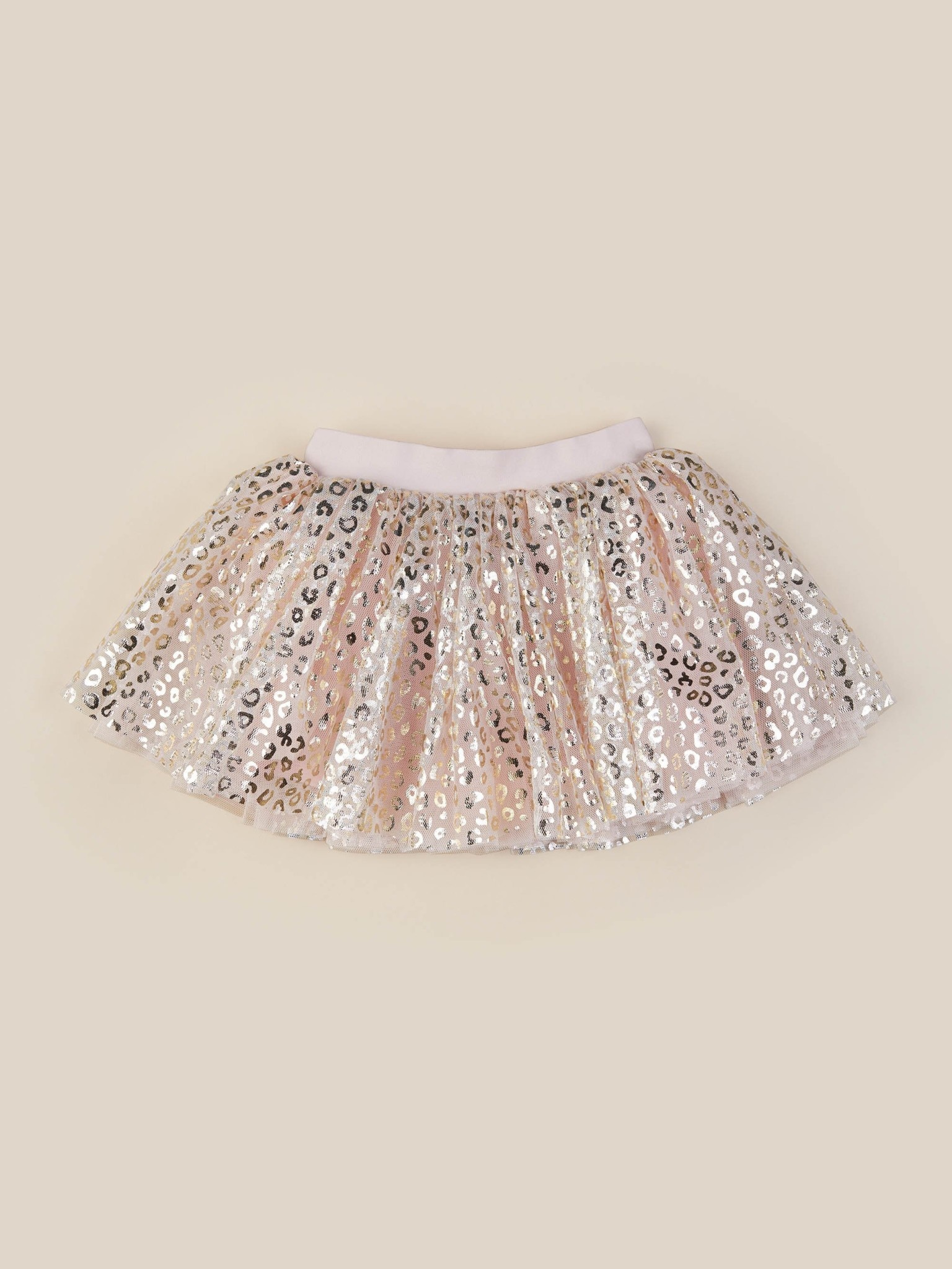 HUX BABY Gold Animal Tulle Skirt