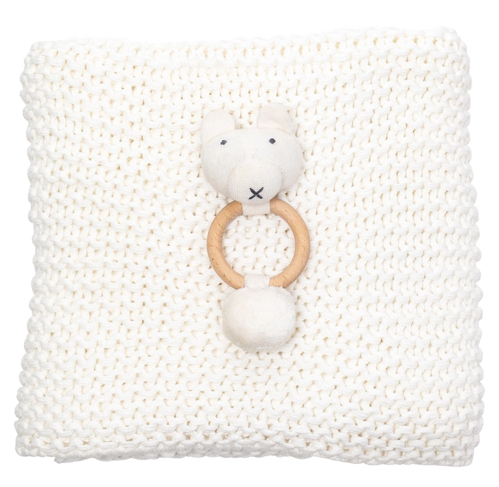 Zestt Organics Soft White + Bear Comfy Knit Baby Gift Set