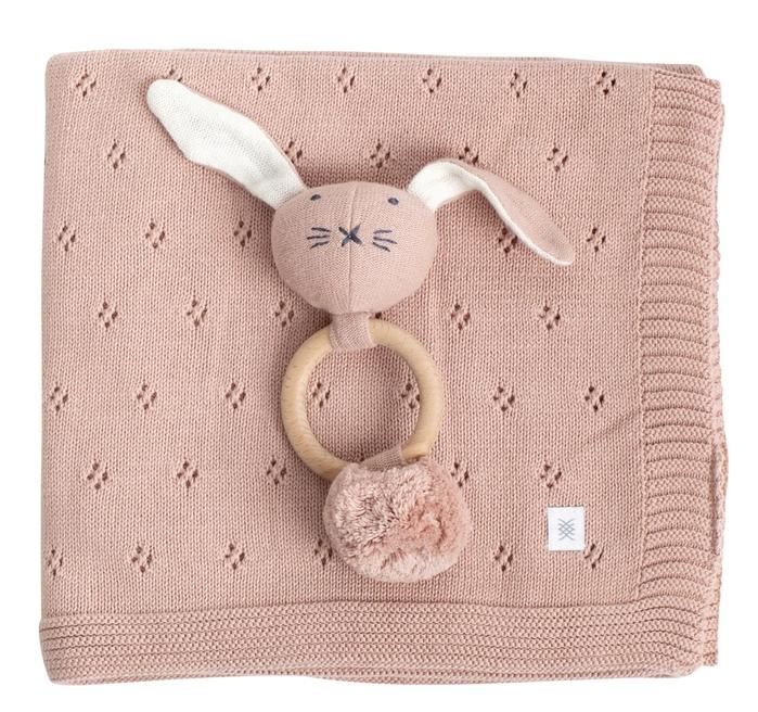 Zestt Organics Berry + Bunny Clover Knit Gift Set