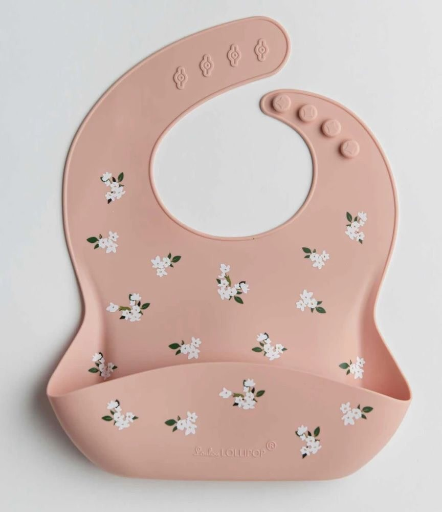 LOULOU LOLLIPOP Silicone Bib White Flower