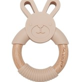 LOULOU LOLLIPOP Bunny Silicone and Wood Teether Sand