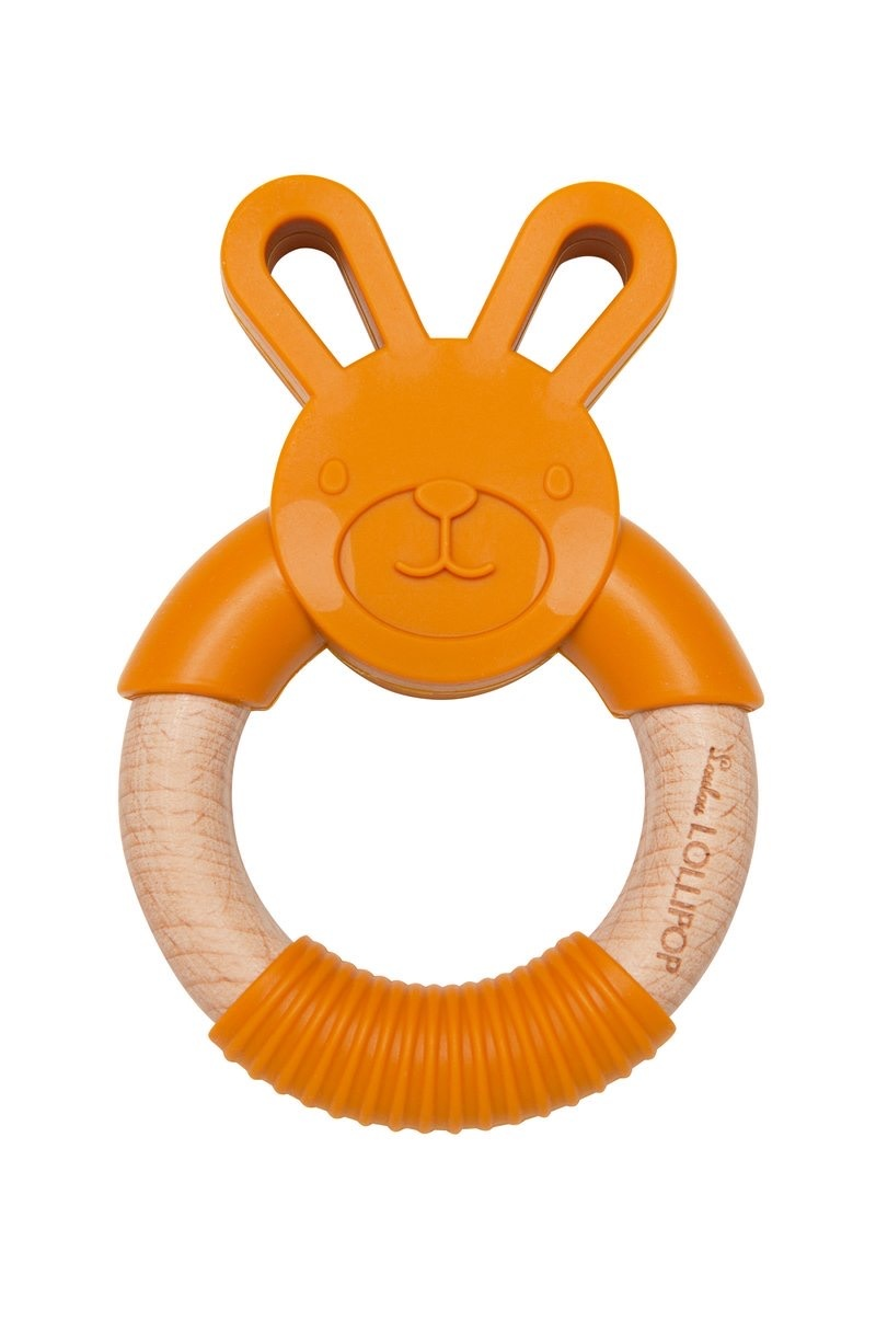 LOULOU LOLLIPOP Bunny Silicone and Wood Teether Gold