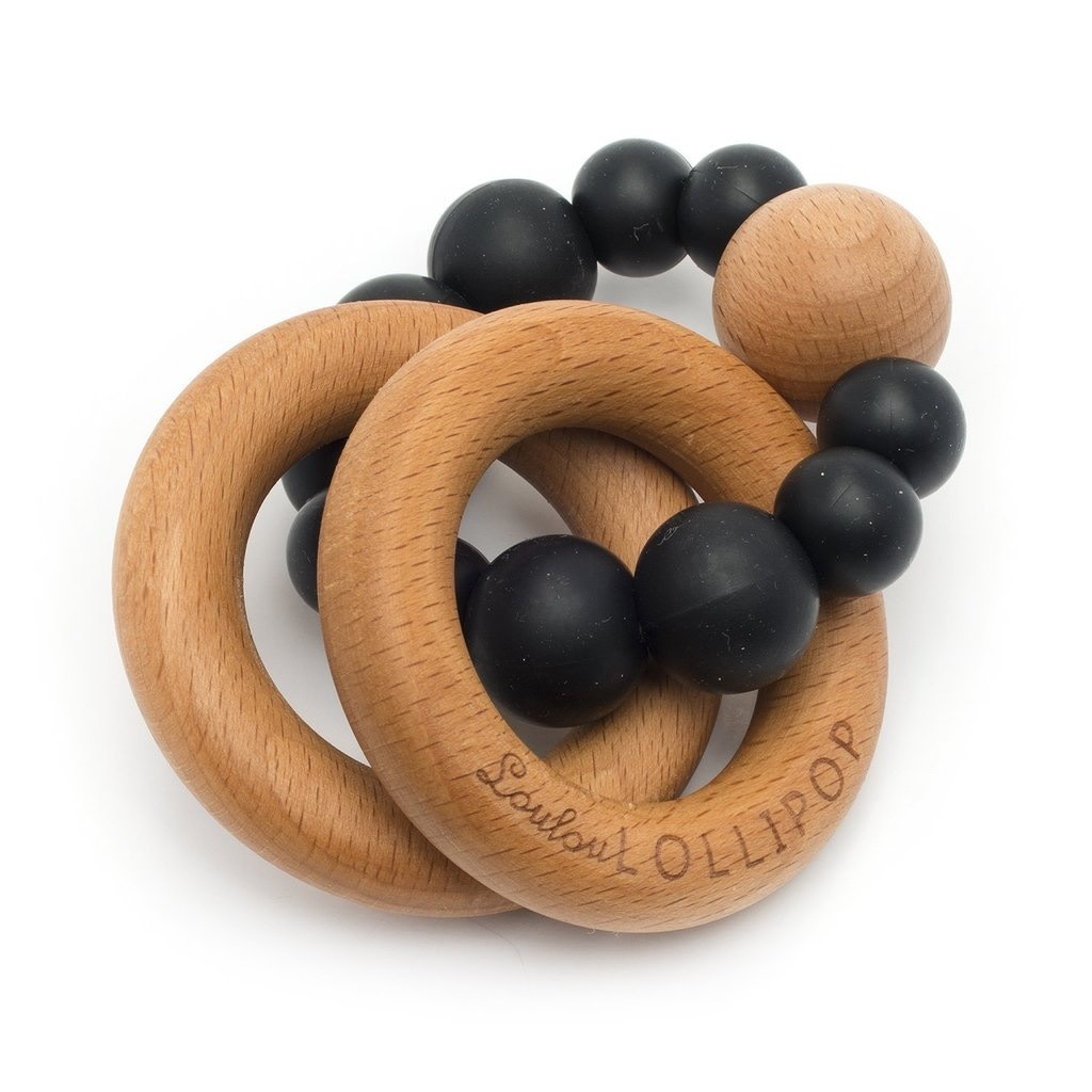 LOULOU LOLLIPOP Bubble Silicone and Wood Teether Black