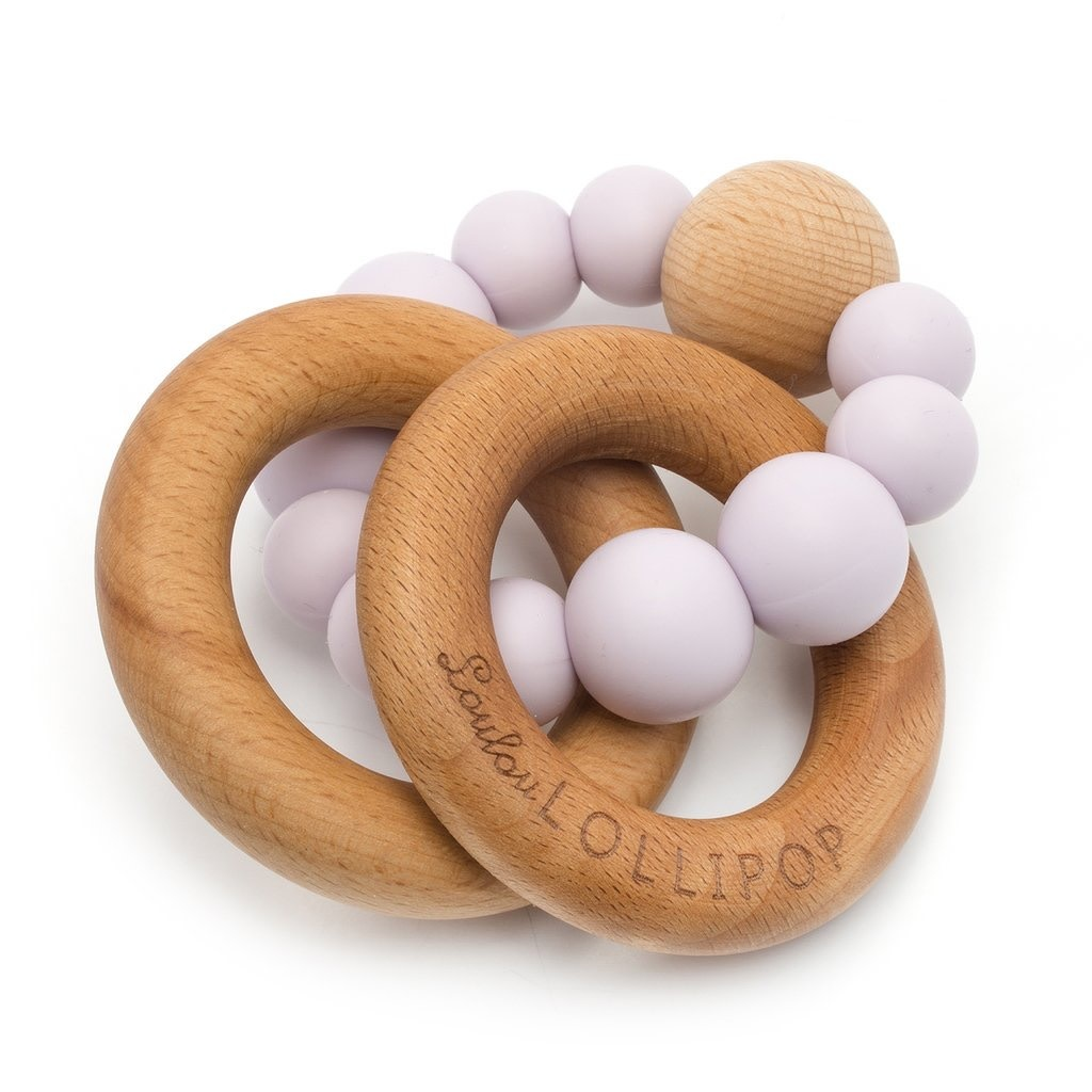 LOULOU LOLLIPOP Bubble Silicone and Wood Teether Lilac