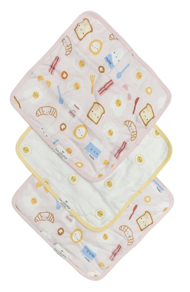LOULOU LOLLIPOP Washcloth Set Breakfast Pink