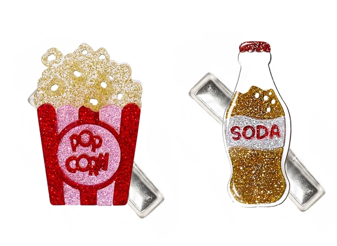 Lilies & Roses Popcorn And Soda Alligator Clips