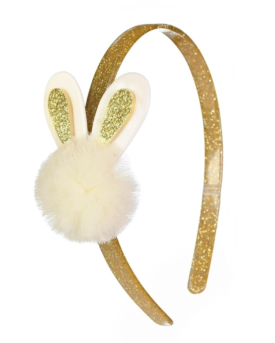 Lilies & Roses Pompom Bunny Headband - Gold