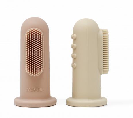 MUSHIE Finger Toothbrush - Shifting Sand / Blush