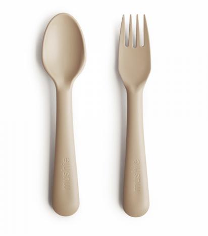 MUSHIE Fork And Spoon Set - Vanilla