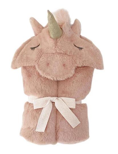 MON AMI Unicorn Pink Plush Hooded Blanket