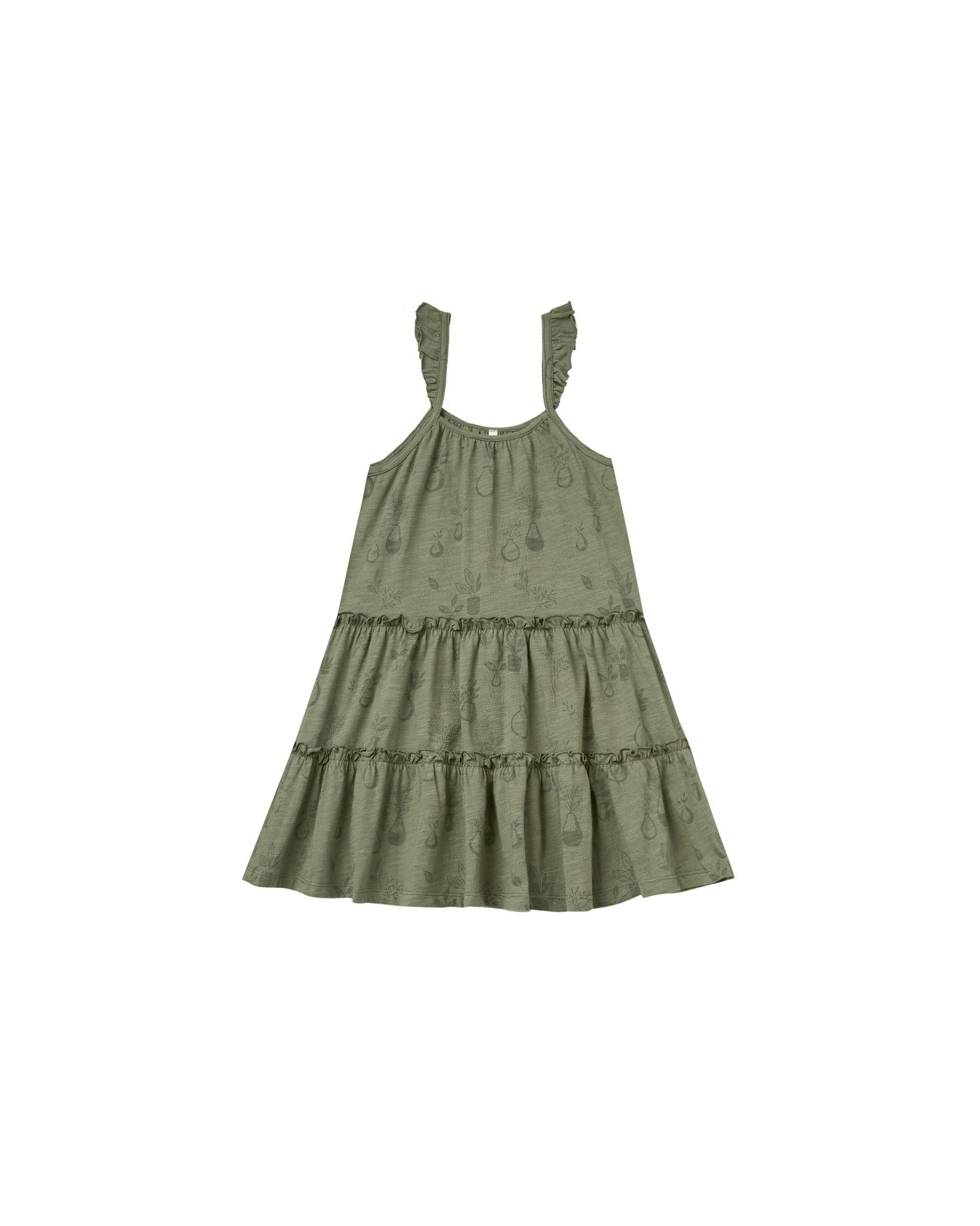 RYLEE AND CRU Potted Plants Tiered Jersey Dress