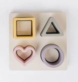 THREE HEARTS Silicone Shape Puzzle - Mauve