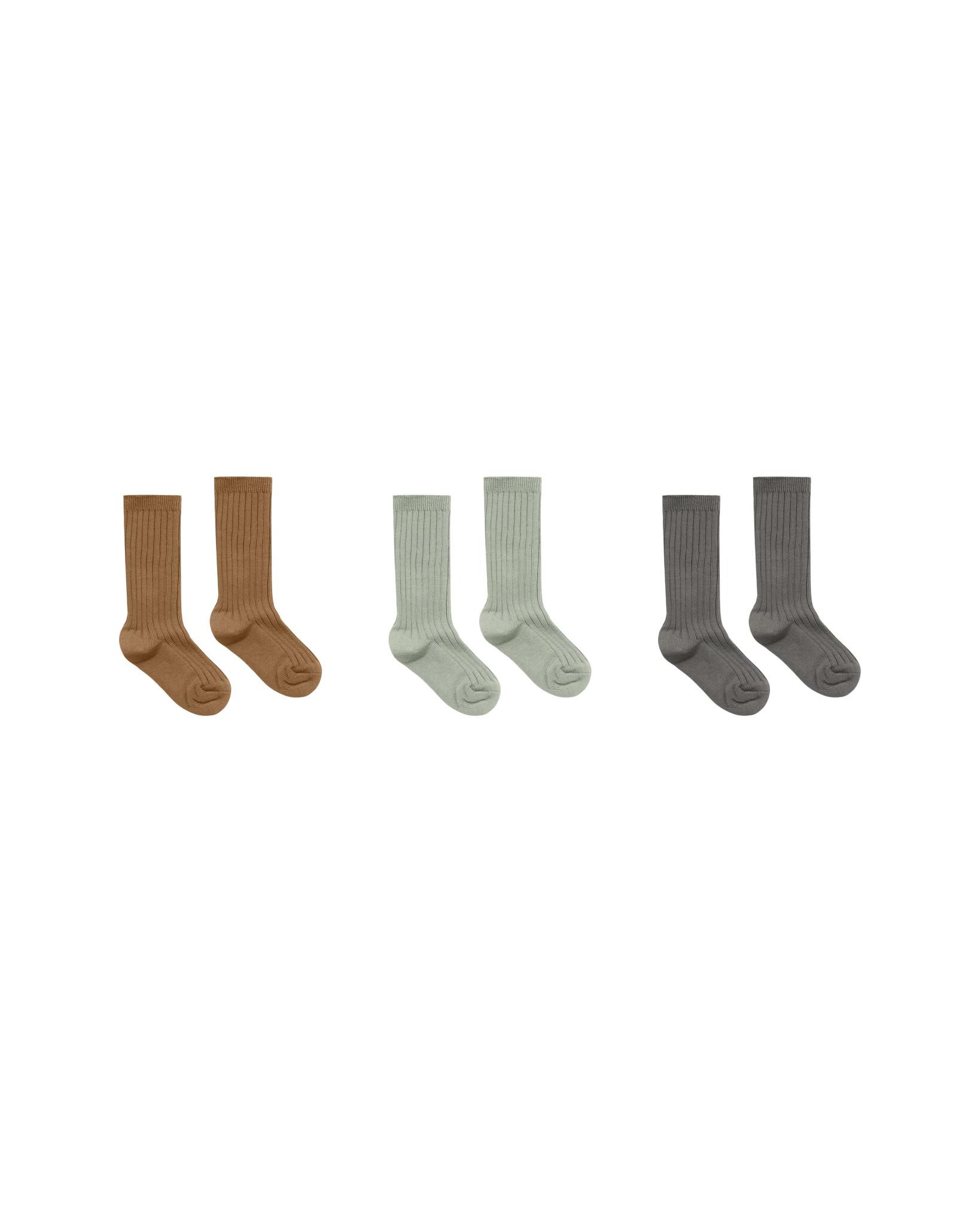 RYLEE AND CRU Solid Ribbed Socks - 3 Pack