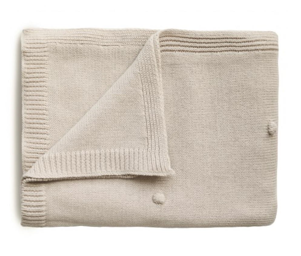 MUSHIE Knitted Textured Dots Baby Blanket - Off White Melange