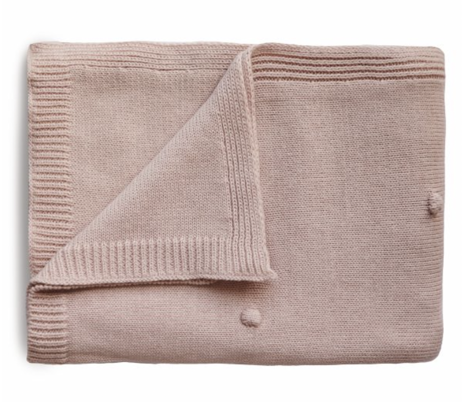 MUSHIE Knitted Textured Dots Baby Blanket - Blush