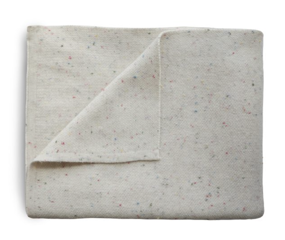 MUSHIE Knitted Confetti Baby Blanket - Ivory
