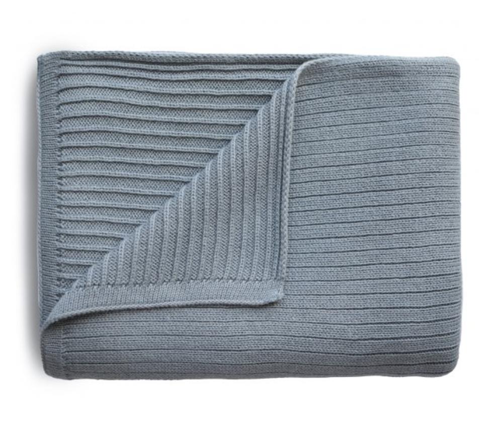 MUSHIE Knitted Ribbed Baby Blanket - Smoke