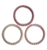 MUSHIE Pearl Teething Bracelet 3-Pack - Linen/Peony/Pale Pink