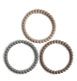 MUSHIE Pearl Teething Bracelet 3-Pack - Clary Sage/ Tuscany / Desert Sand
