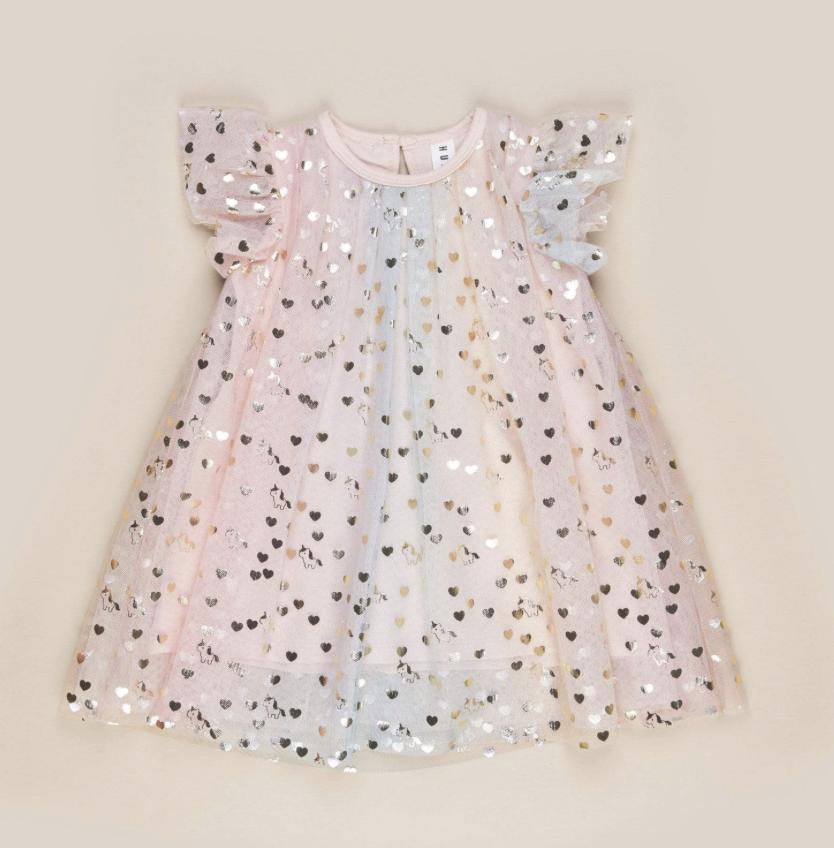 HUX BABY Unicorn Hearts Flutter Sleeve Dress