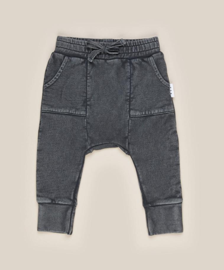 HUX BABY Charcoal Pocket Drop Crotch Pant