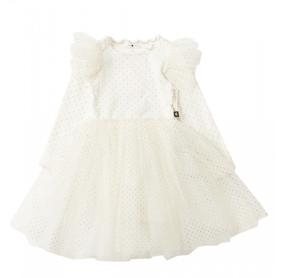 PETITE HAILEY Dot Sha Sleeve Tutu Dress