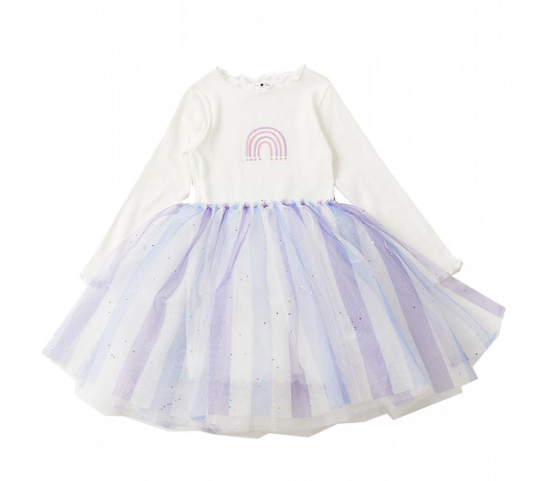 PETITE HAILEY Rainbow Glitter Tutu Dress